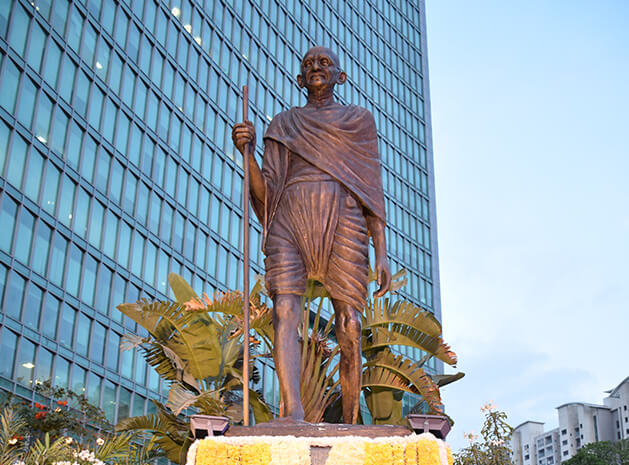 Mahatma Gandhi's statue at Brigade Gateway Campus, Bangalore