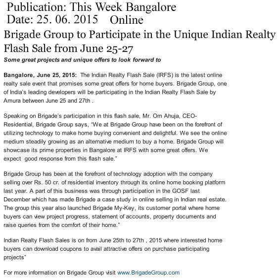 Brigade Group to participate in Indian Realty Flash Sale