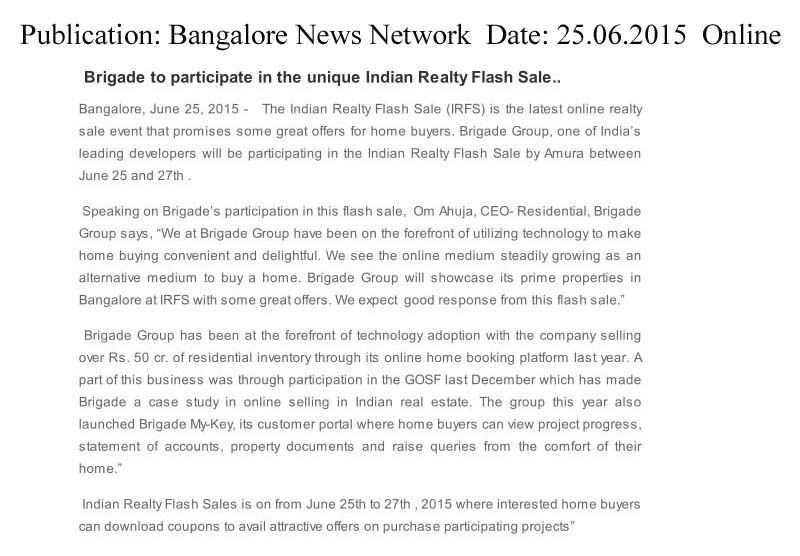 Brigade to participate in the unique Indian Realty Flash Sale