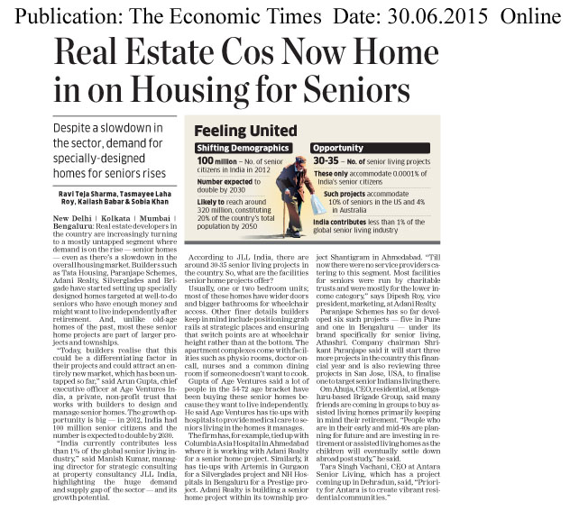 Real Estate Cos now home in on Housing for seniors