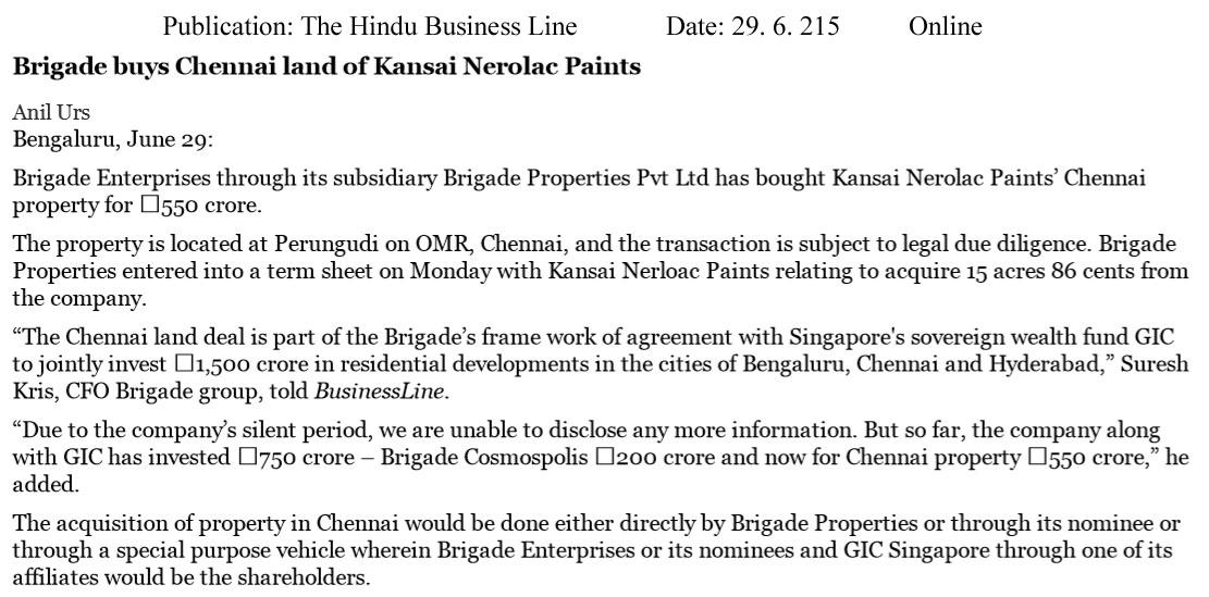 Brigade buys Chennai land of Kansai Nerolac paints