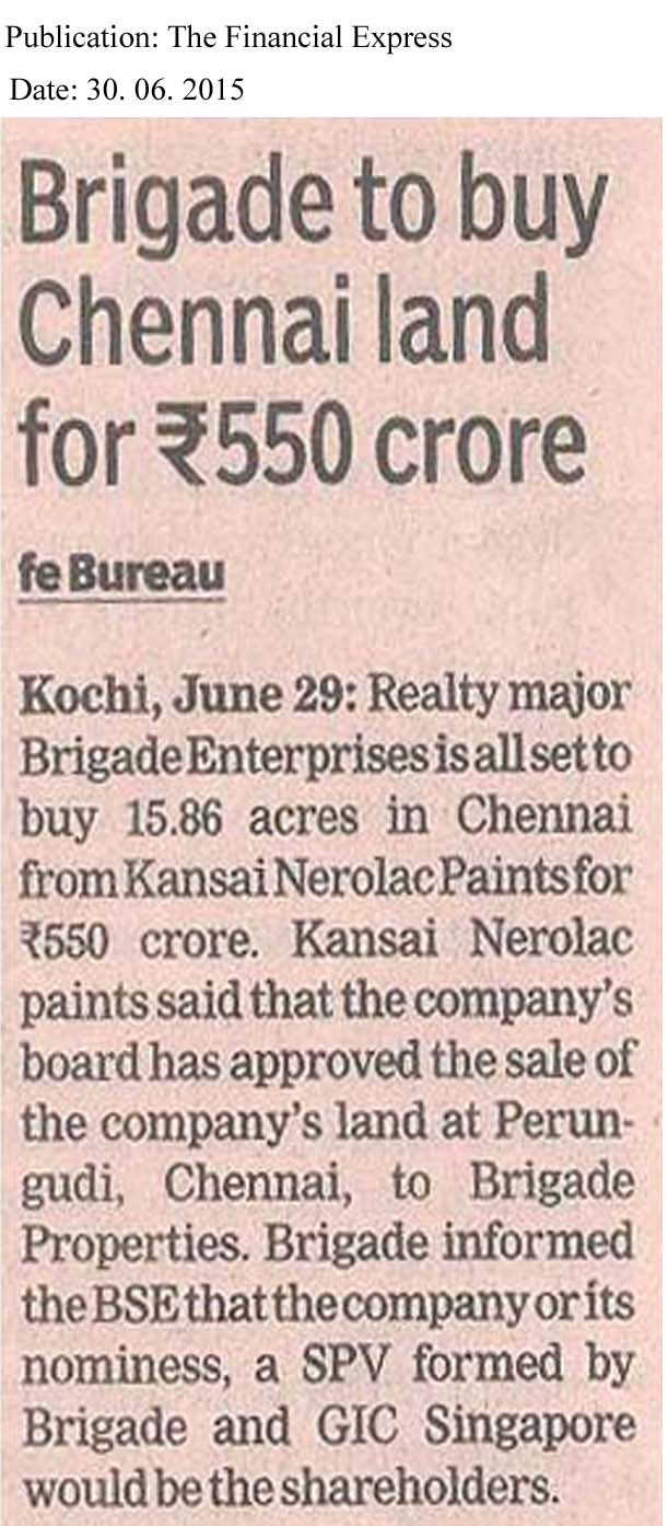 Brigade to buy Chenani land for Rs 550 Cr