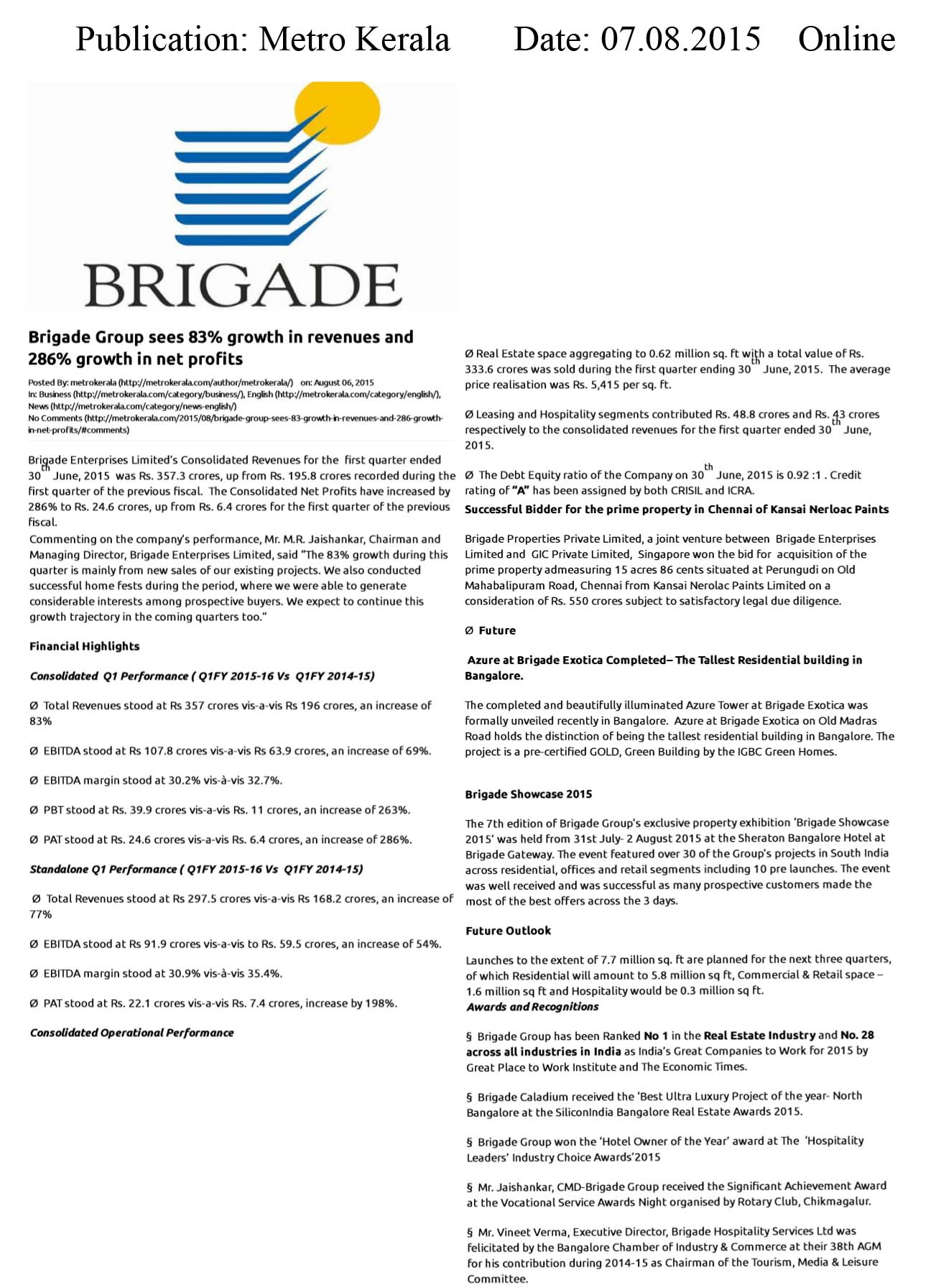 Brigade Group sees 83% growth in revenues and 286% growth in net profits