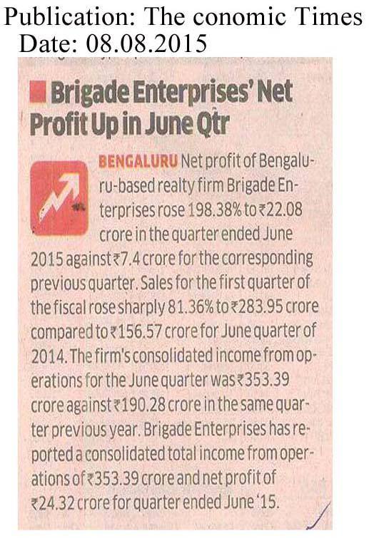 Brigade Enterprises Net profit up in June Qtr