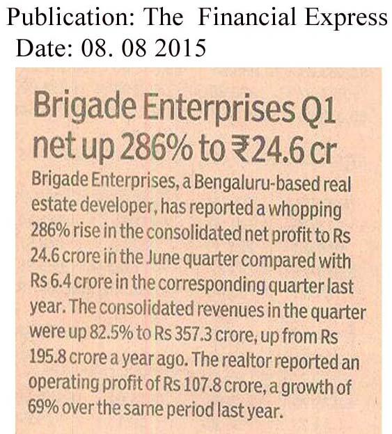 Brigade Enterprises Q1 net up 286% to 24.06cr