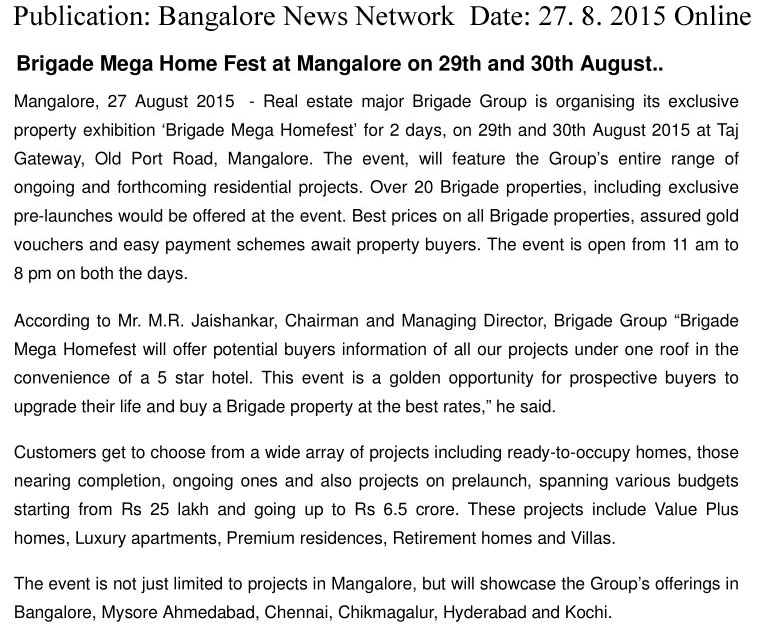 Brigade Mega home fest at Mangalore on 29th and 30th August