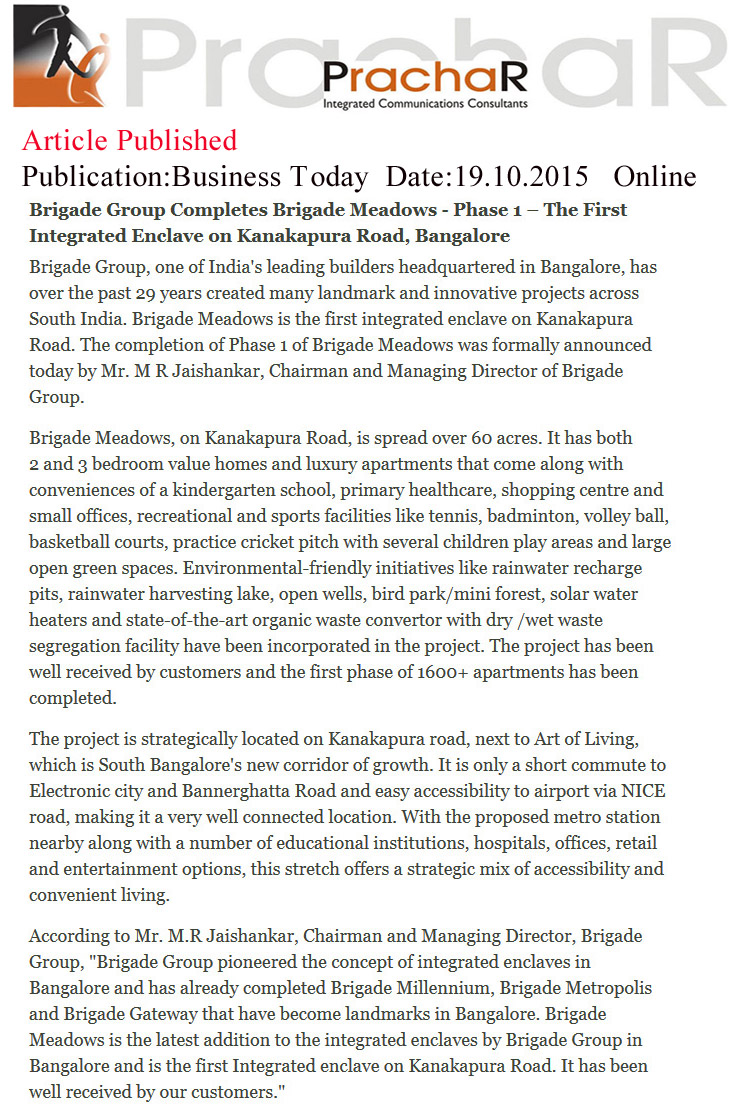 Brigade Group completes Brigade meadows – Phase 1 –The first integrated enclave on Kanakapura road, Bangalore - Business Today