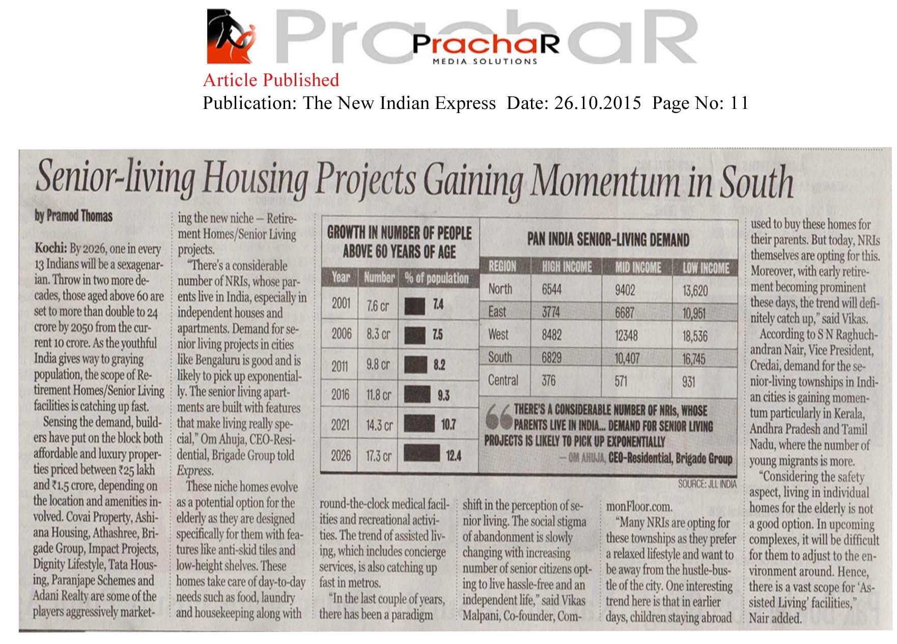 Senior-living housing projects gaining momentum in south - The New Indian Express