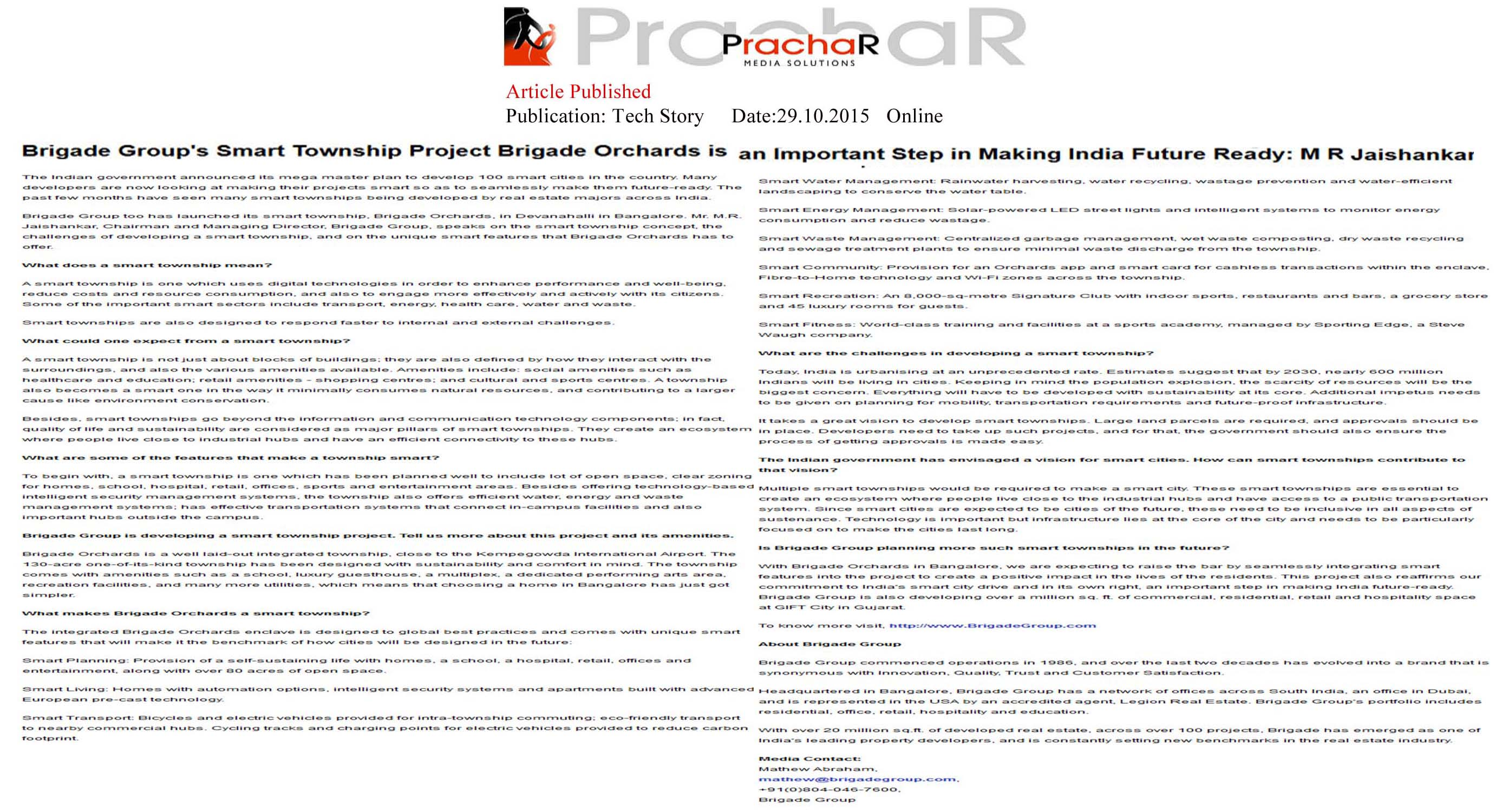 Brigade Group's smart township project Brigade Orchards is an important step in making India future Ready: M R Jaishankar - Tech Story.in