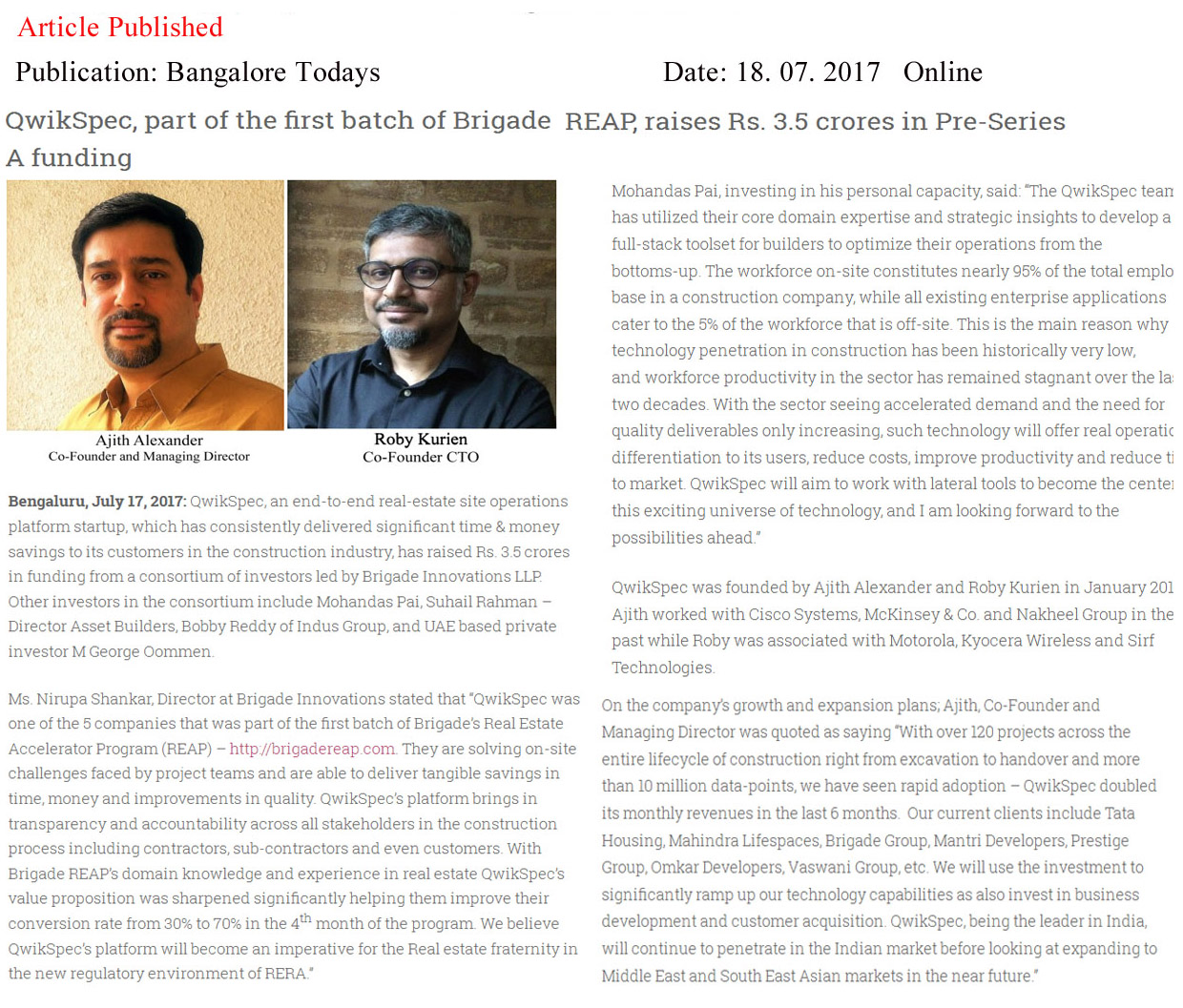 QwikSpec, raises Rs. 3.5 crores in Pre-Series A funding led by Brigade innovations—Bangalore Todays