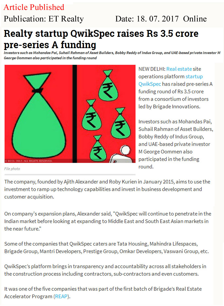 Realty Startups QwikSpec raises Rs. 3.5 crores in Pre-Series A funding—ET Realty-Qwickspec