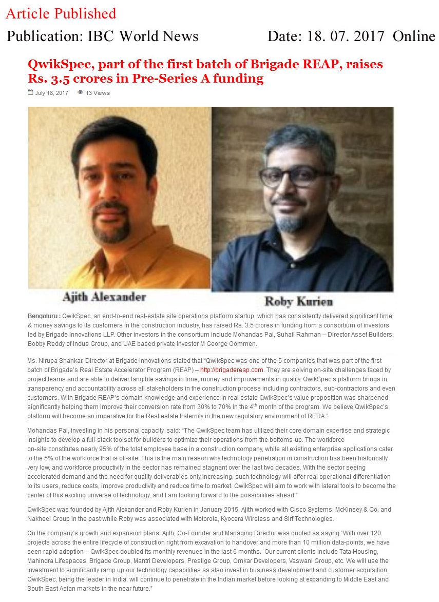 QwikSpec, part of the first batch of Brigade REAP, raises Rs. 3.5 crores in Pre-Series A funding—IBC World News-Qwickspec