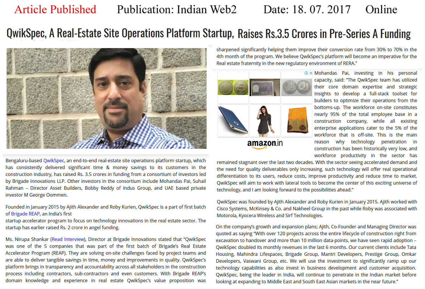 QwikSpec, part of the first batch of Brigade REAP, raises Rs. 3.5 crores in Pre-Series A funding—Indianweb2 Online Brigade Qwickspec