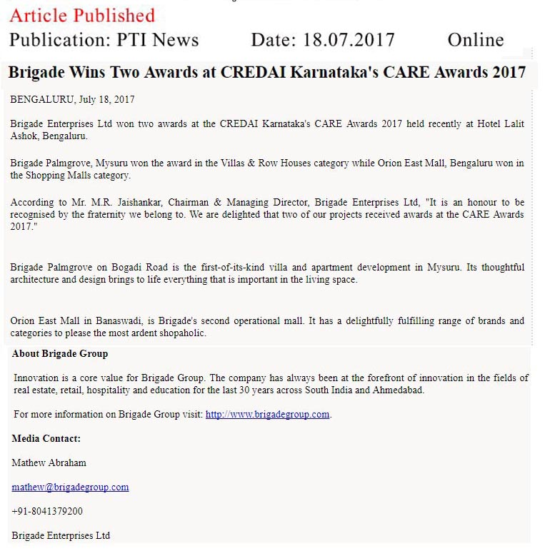 Brigade Wins Two Awards at CREDAI Karnataka's CARE awards- 2017—PTI News