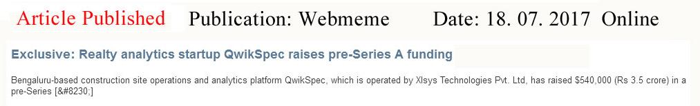 Realty Startups QwikSpec raises Rs. 3.5 crores in Pre-Series A funding—Webmeme-Qwickspec