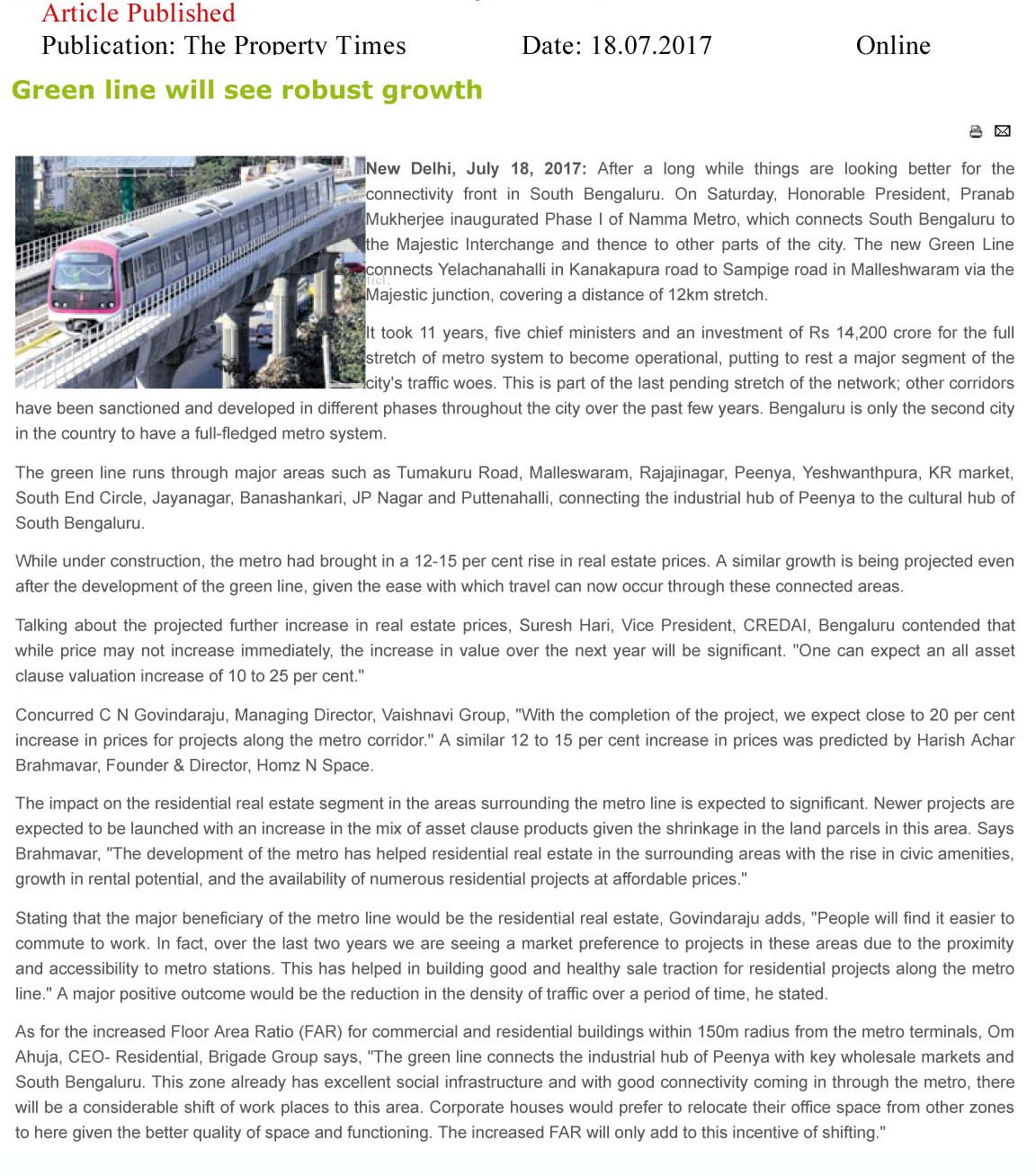 Green line will see robust growth—The Property Times-Online