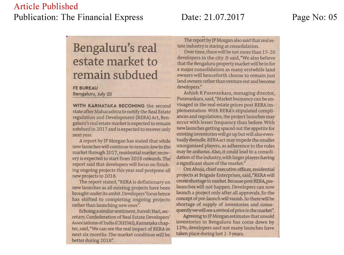 Bengaluru's real estate market to remain subdued—The Financial Express