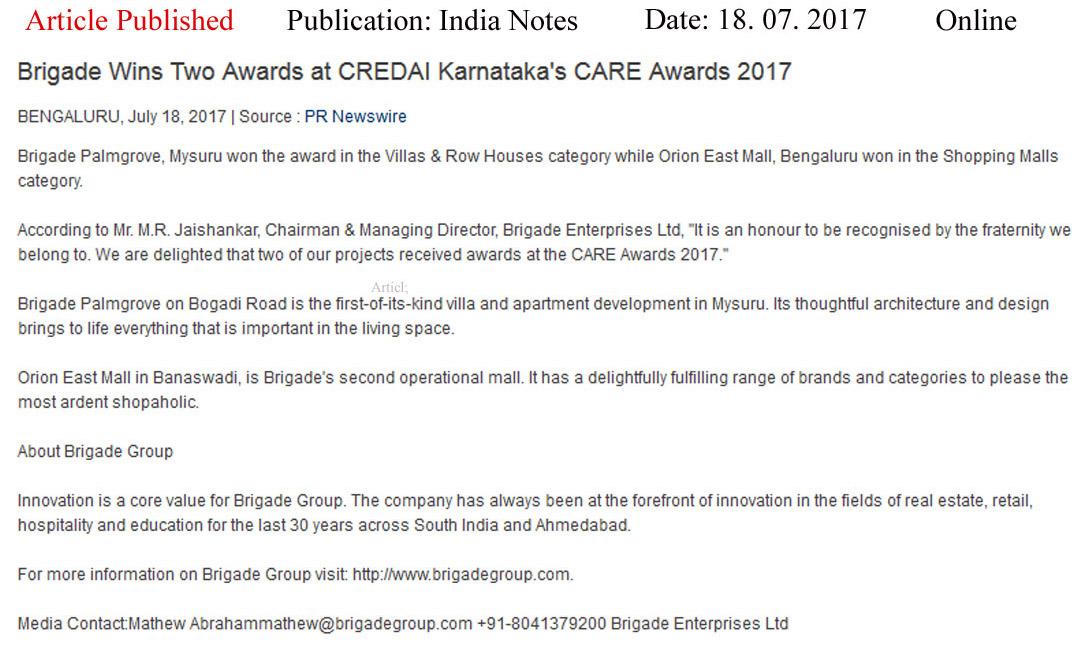 Brigade Wins Two Awards at CREDAI Karnataka's CARE awards- 2017—India Notes-Online