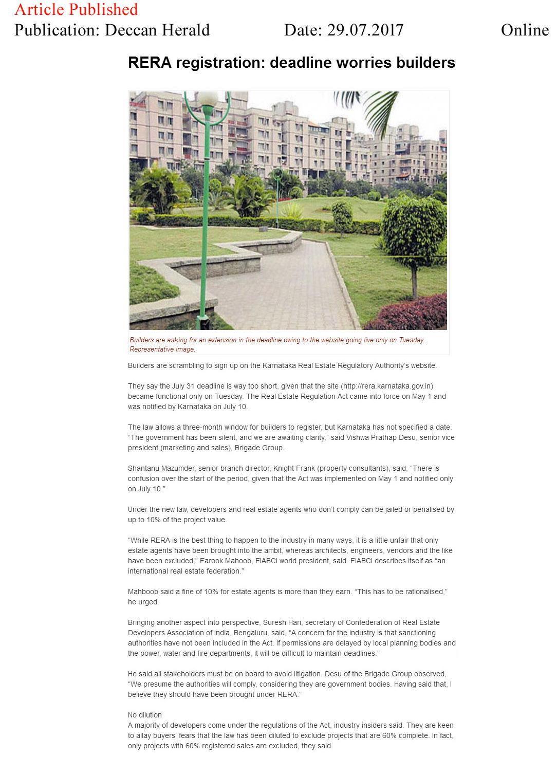 RERA registration: deadline worried builders—Deccan Herald-Online