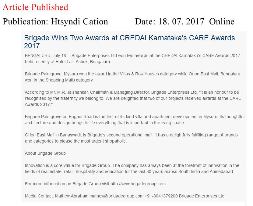 Brigade Wins Two Awards at CREDAI Karnataka's CARE Awards 2017—HT Media Syndication-Online