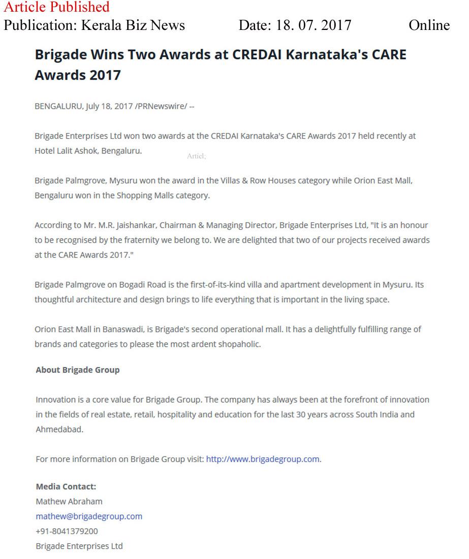 Brigade Wins Two Awards at CREDAI Karnataka's CARE Awards 2017—Kerala Biz News-Online