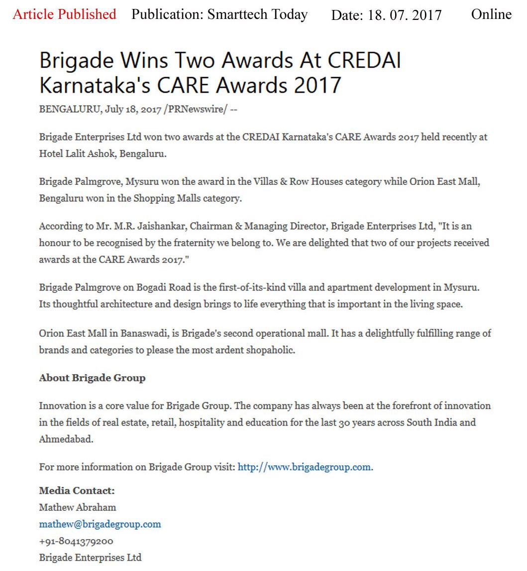Brigade Wins Two Awards at CREDAI Karnataka's CARE Awards 2017—Smart Tech Today-Online