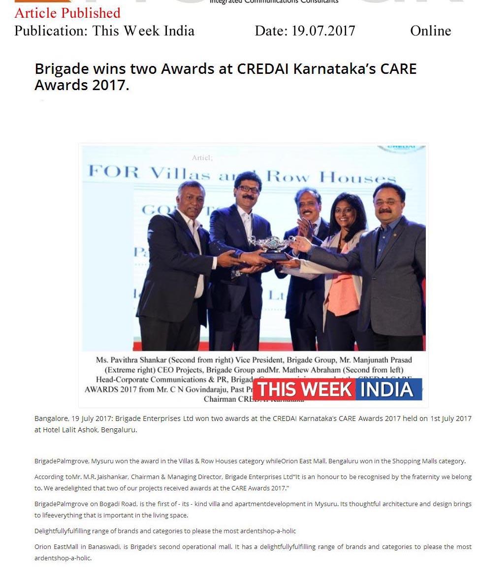 Brigade Wins Two Awards at CREDAI Karnataka's CARE Awards 2017—The Week India-Online