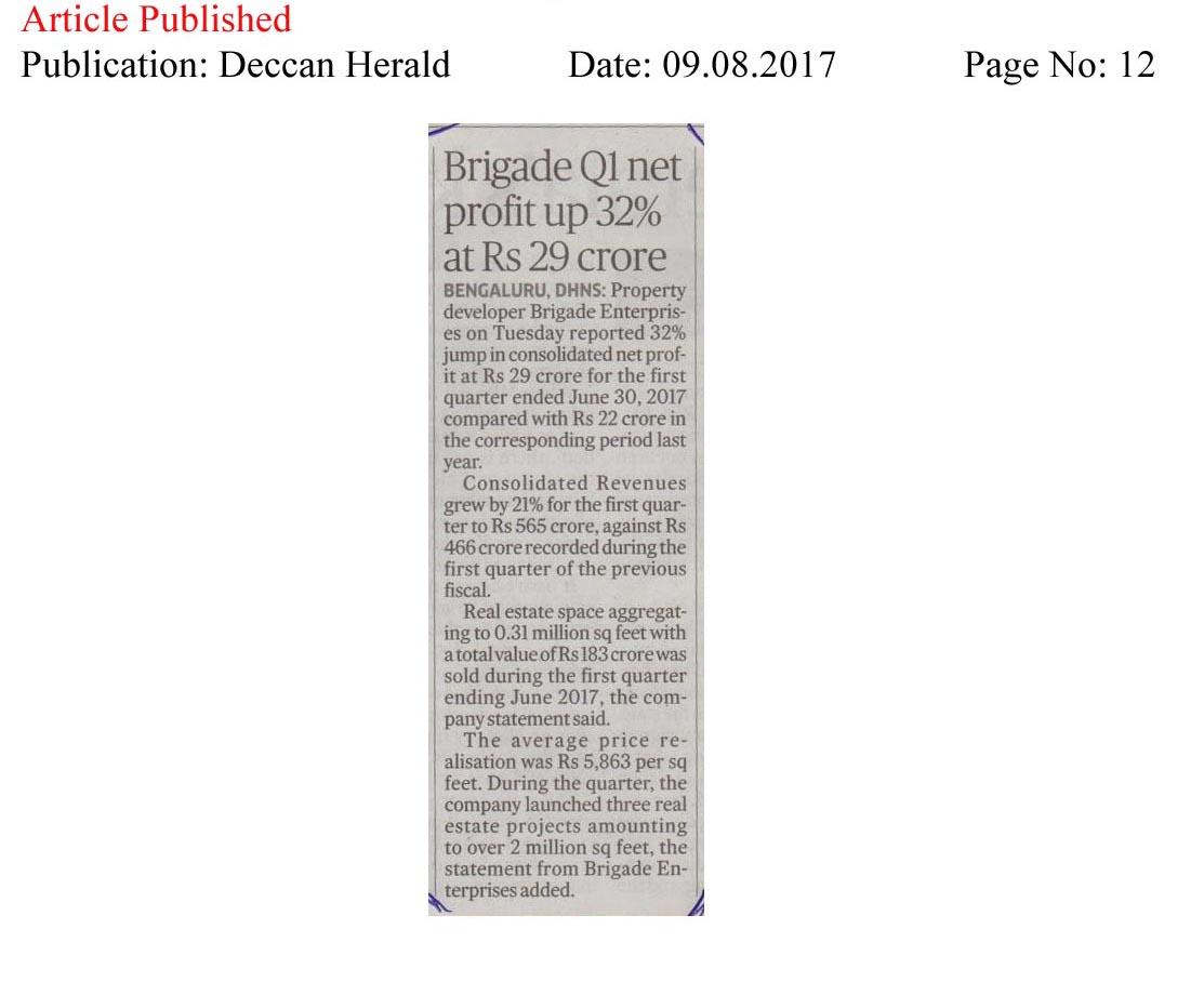 Brigade Q1 net profit up 32% at Rs 29 Crores—Deccan Herald