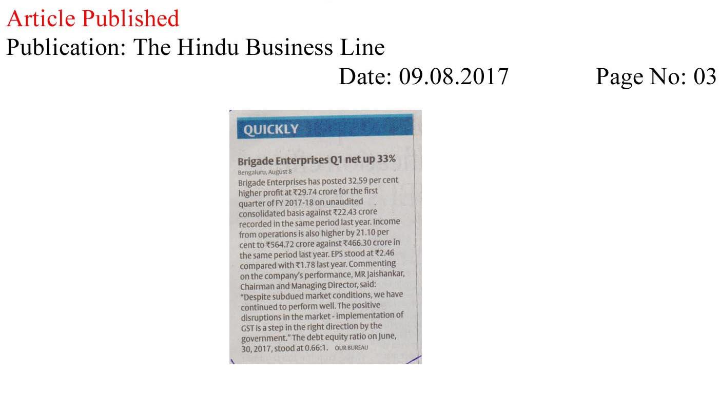 Brigade Enterprises Q1 net up 33%—The Hindu Business Line
