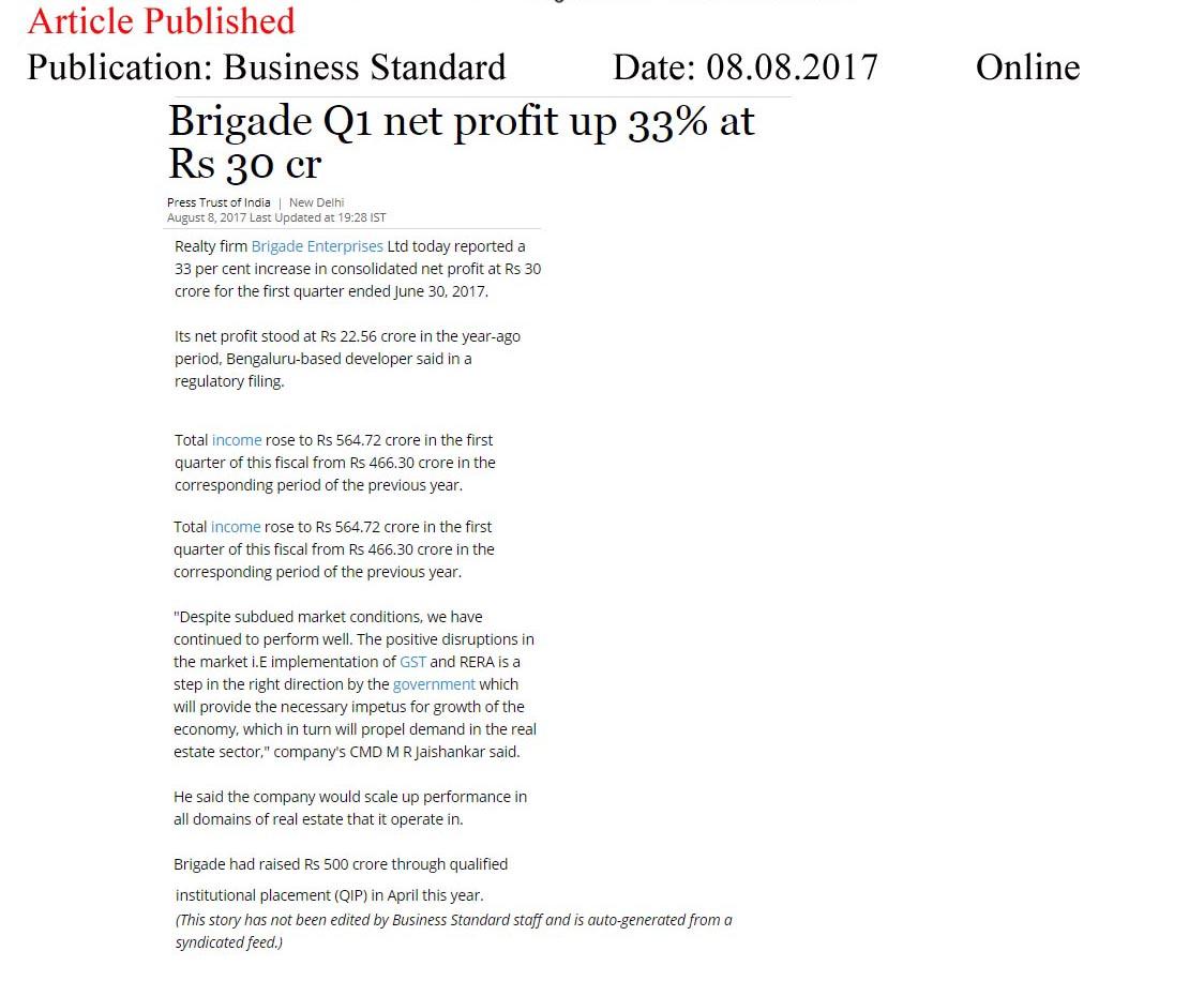 Brigade Q1 net profit up 33% at Rs 30 cr—Business Standard-Online