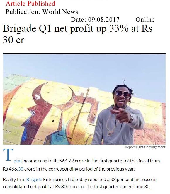 Brigade Q1 net profit up 33% at Rs 30 cr—World News-Online