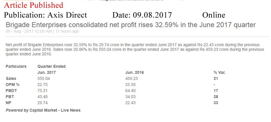 Brigade Enterprises consolidated net profit rises 32.59% in the June 2017 quarter—Axis Direct-Online