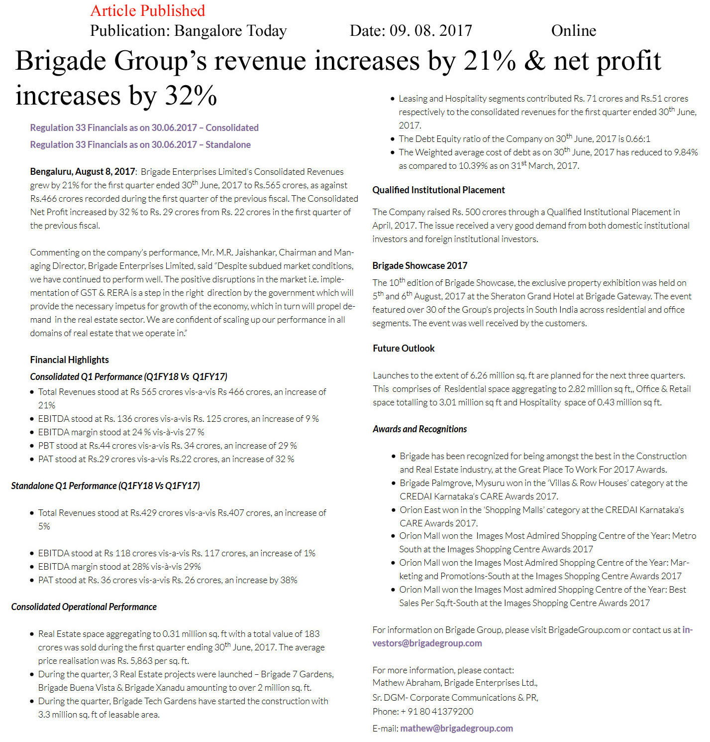 Brigade Group's revenue increases by 21% & net profit increases by 32%—Bangalore Todays-Online