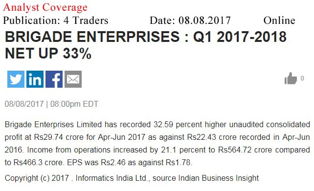 Brigade Enterprises : Q1 2017-2018 net up 33%—4 Traders-Online