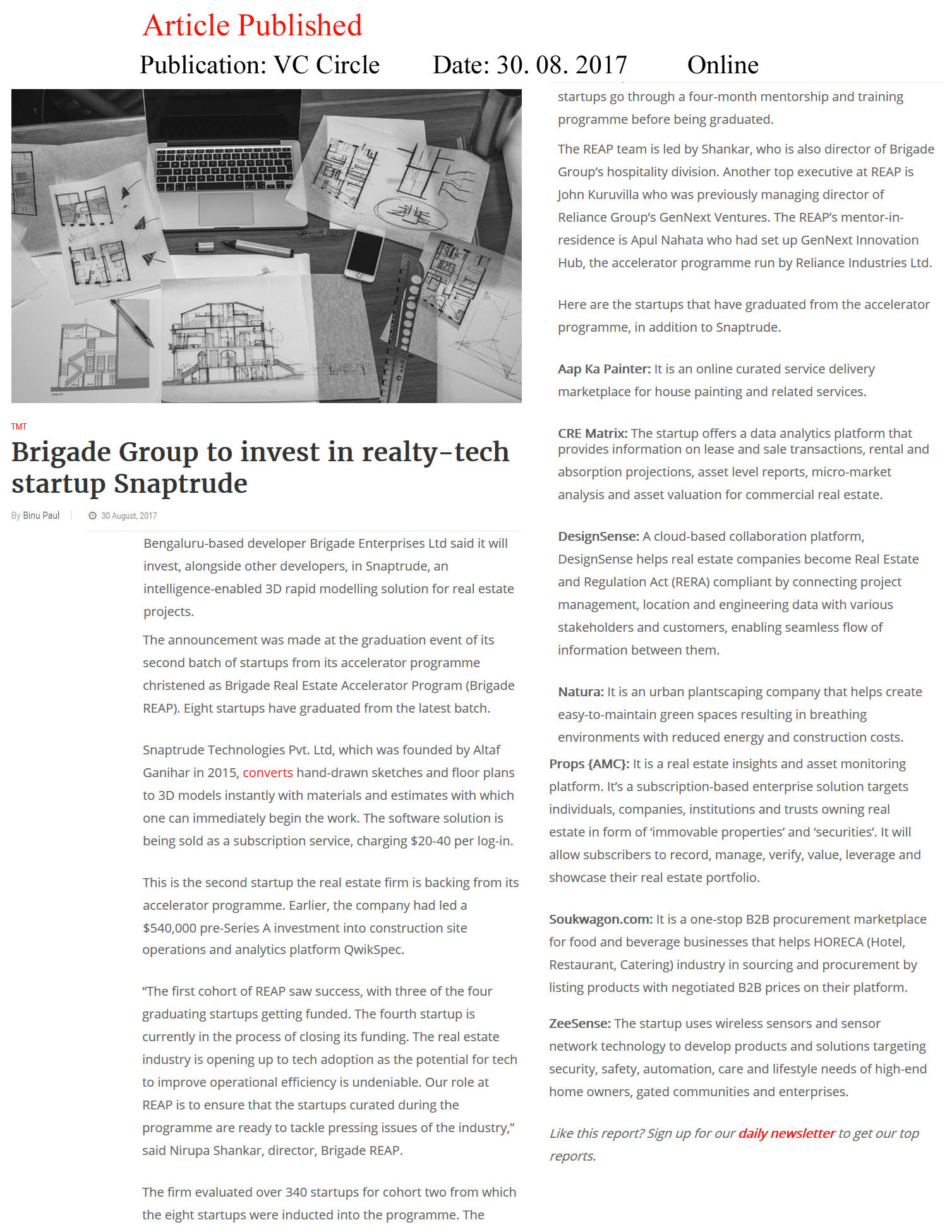 Brigade Group to invest in realty-tech startup Snaptrude—VC Circle-Online