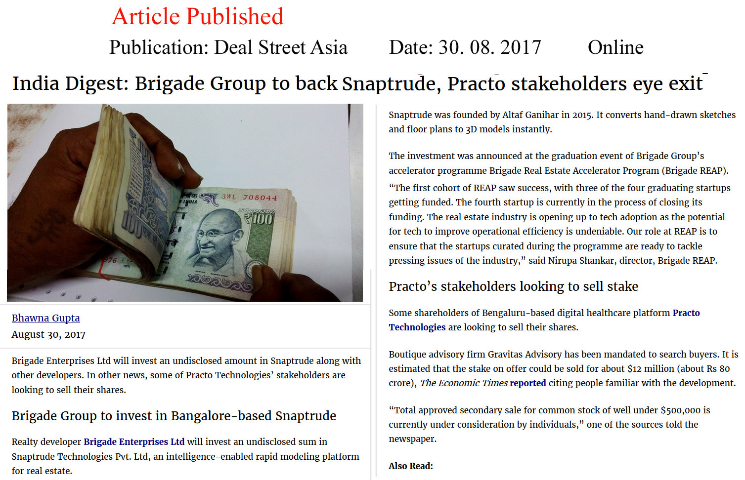 India Digest: Brigade Group to back Snaptrude, Practo stakeholders eye exit—Deal Street Asia–Online