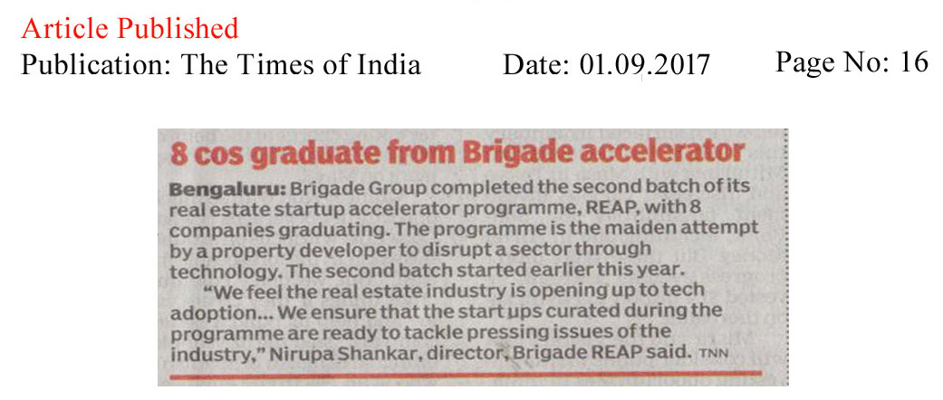 8 cos graduate from Brigade accelerator—The Times of India