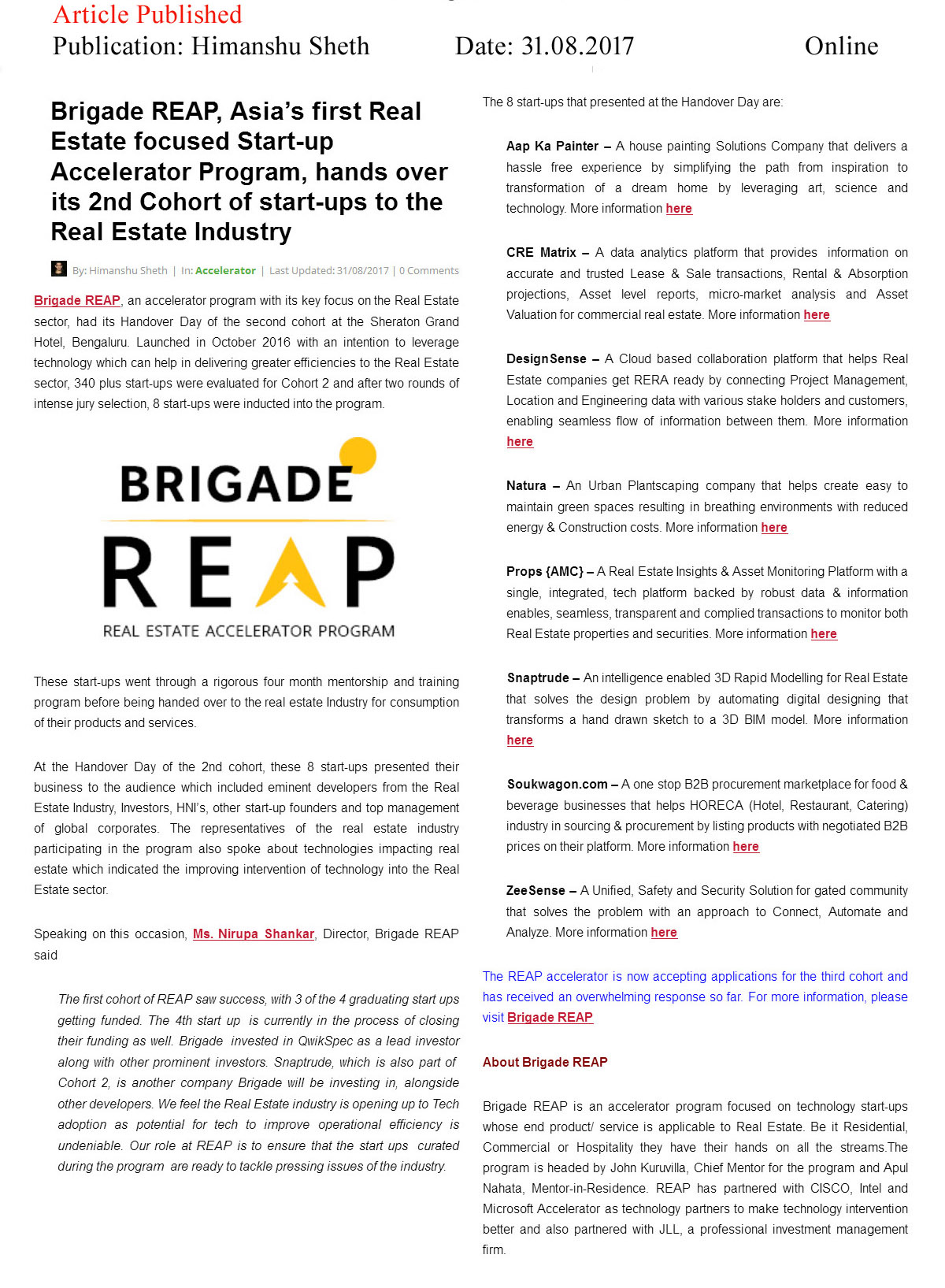 Brigade REAP, Asia's first Real Estate focused Start-up Accelerator Program, hands over its 2nd Cohort of start-ups to the Real Estate Industry—Himanshu Sheth–Online