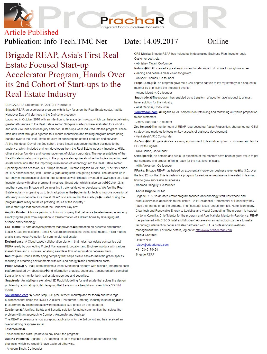 Brigade REAP, Asia's First Real Estate Focused Start-up Accelerator Program, Hands over its 2nd Cohort of Start-ups to the Real Estate Industry—Info Tech.TMC Net-Online