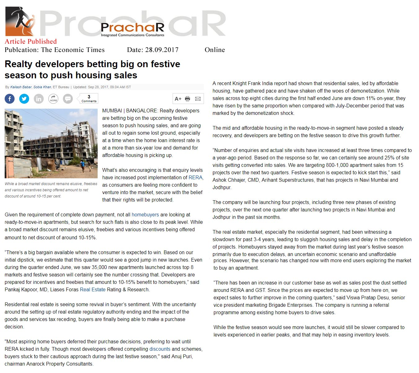 Realty developers betting big on festive season to push housing sales—The Economic Times-Online
