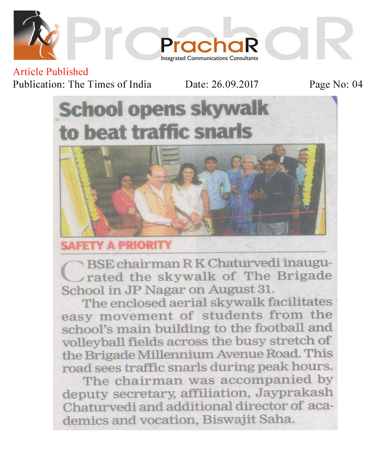School opens skywalk to beat traffic snarls—The Times of India