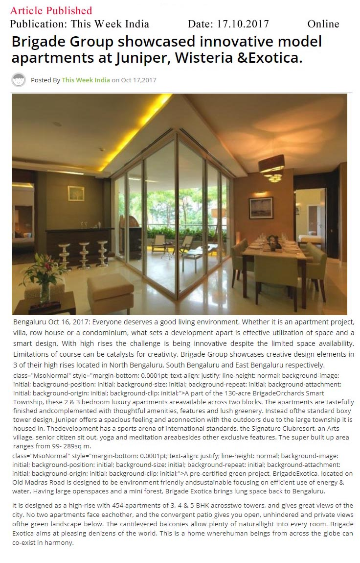 Brigade Group showcased innovative model apartments at Juniper, Wisteria & Exotica—This Week India-Online