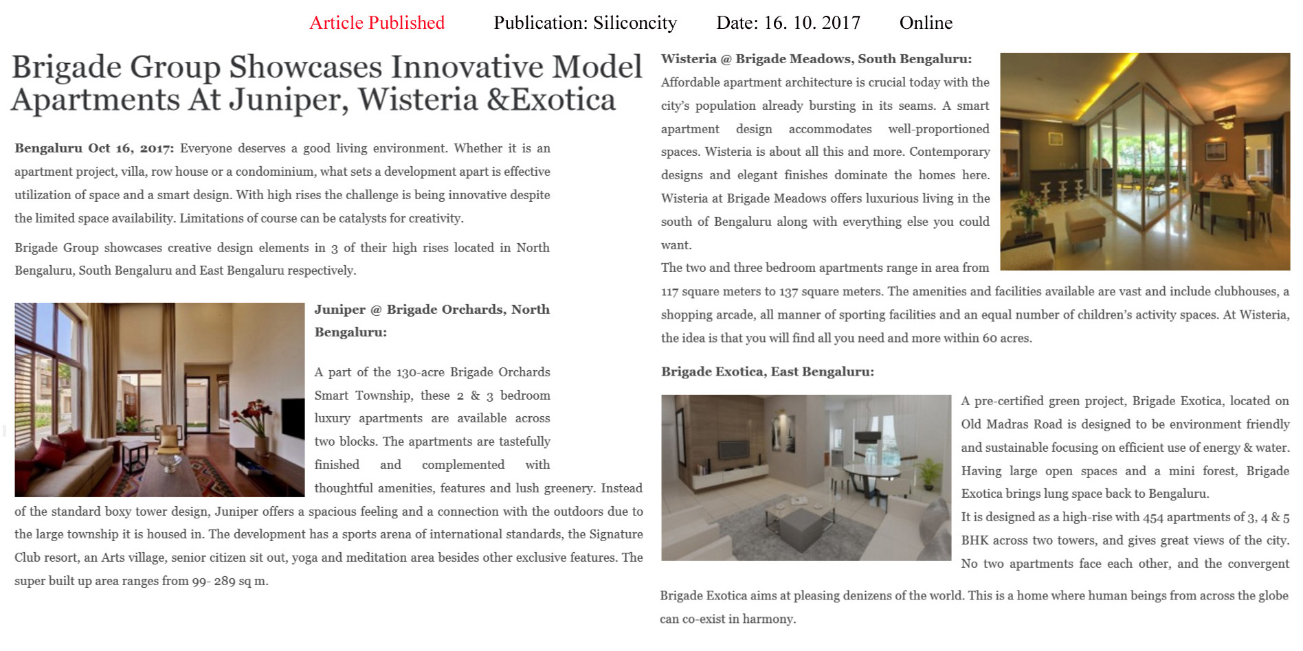 Brigade Group Showcases Innovative Model Apartments At Juniper, Wisteria & Exotica—Silicon City–Online