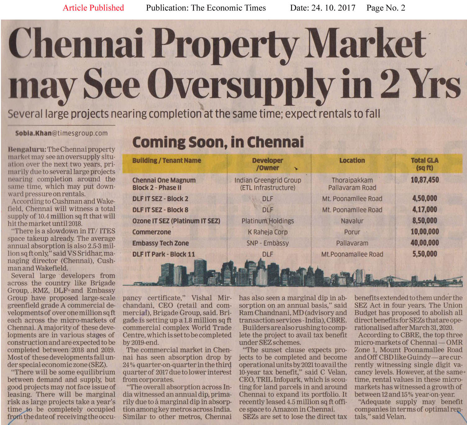 Chennai real estate market may see oversupply in 2 years—The Economic Times-Bangalore Edition