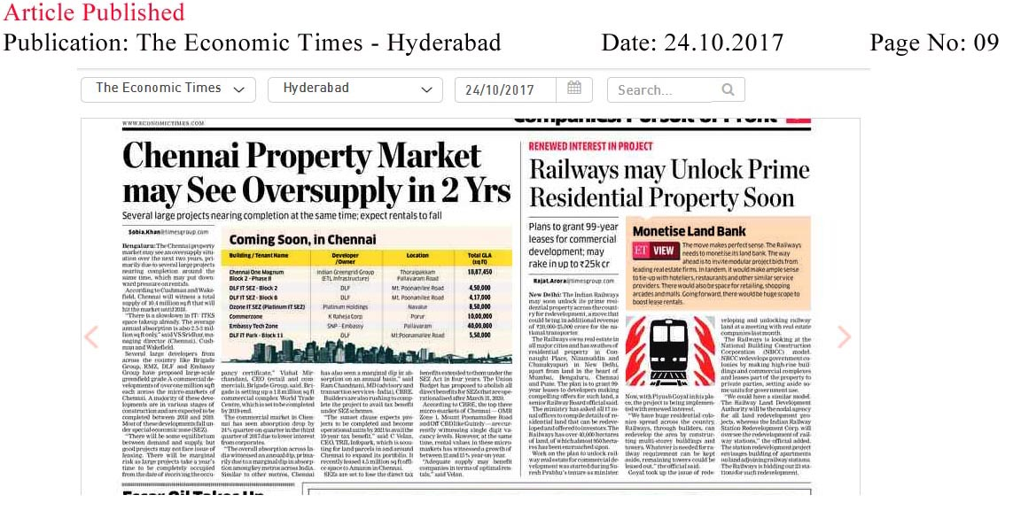 Chennai real estate market may see oversupply in 2 years—The Economic Times–Hyderabad Edition