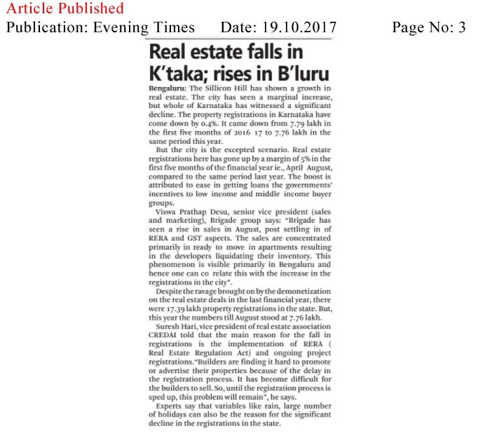 Real estate falls in K'taka; rises in B'luru—Evening Times