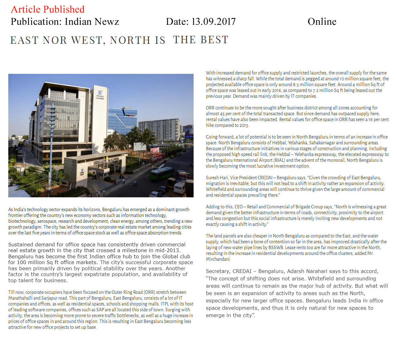 East nor West, North is the best—Indian Newz–Online