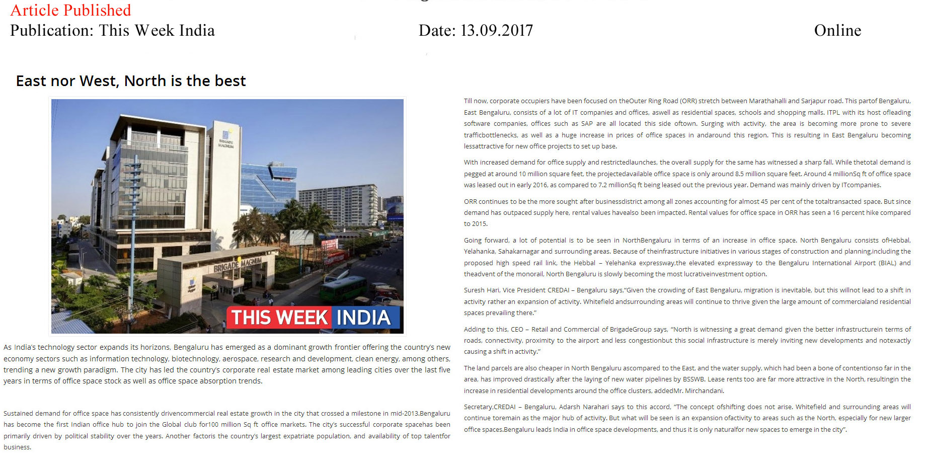 East nor West, North is the best—This Week India–Online