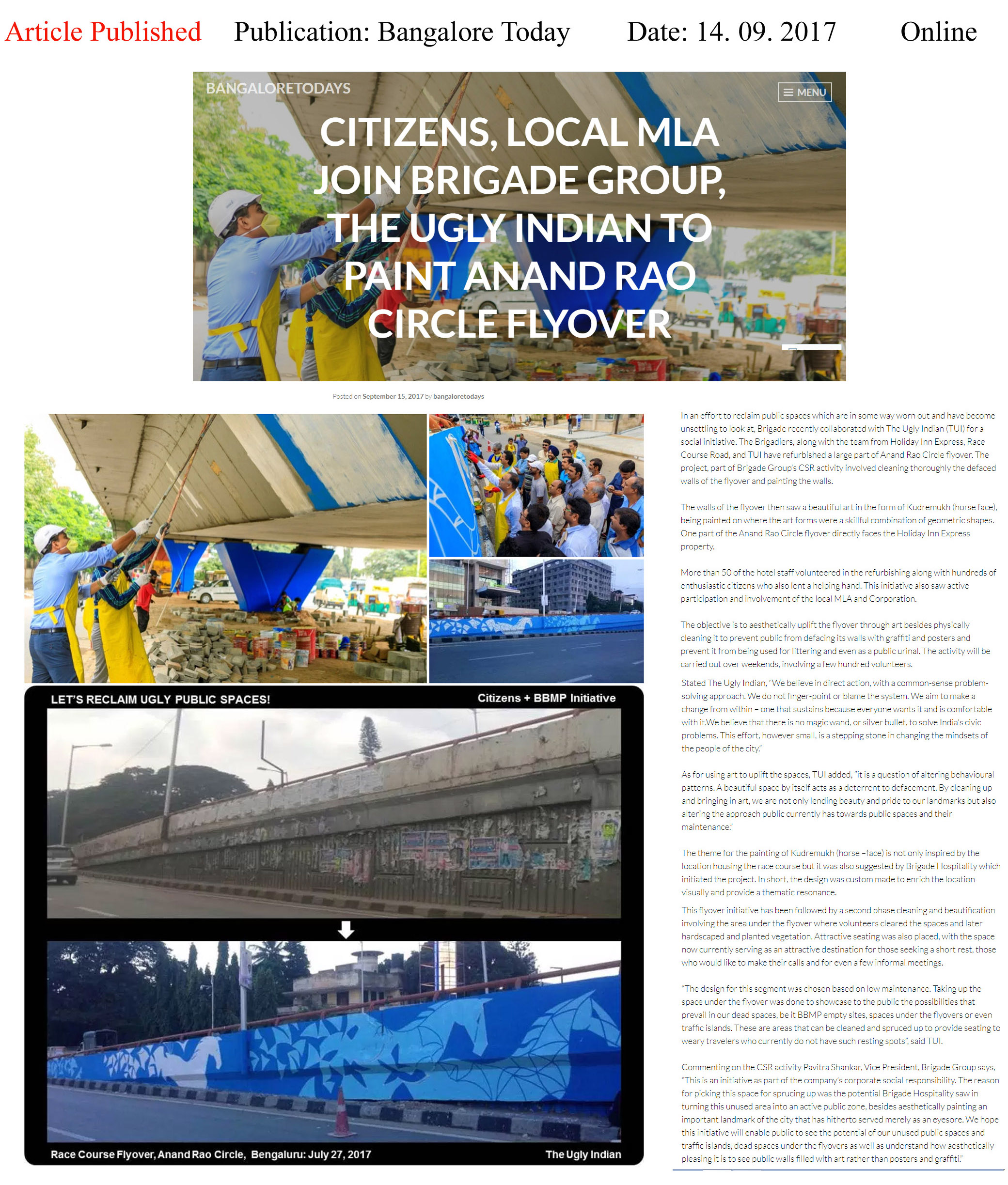 Hundreds of citizens join Brigade, The Ugly Indian to paint Anand Rao Circle flyover—Bangalore Todays–Online