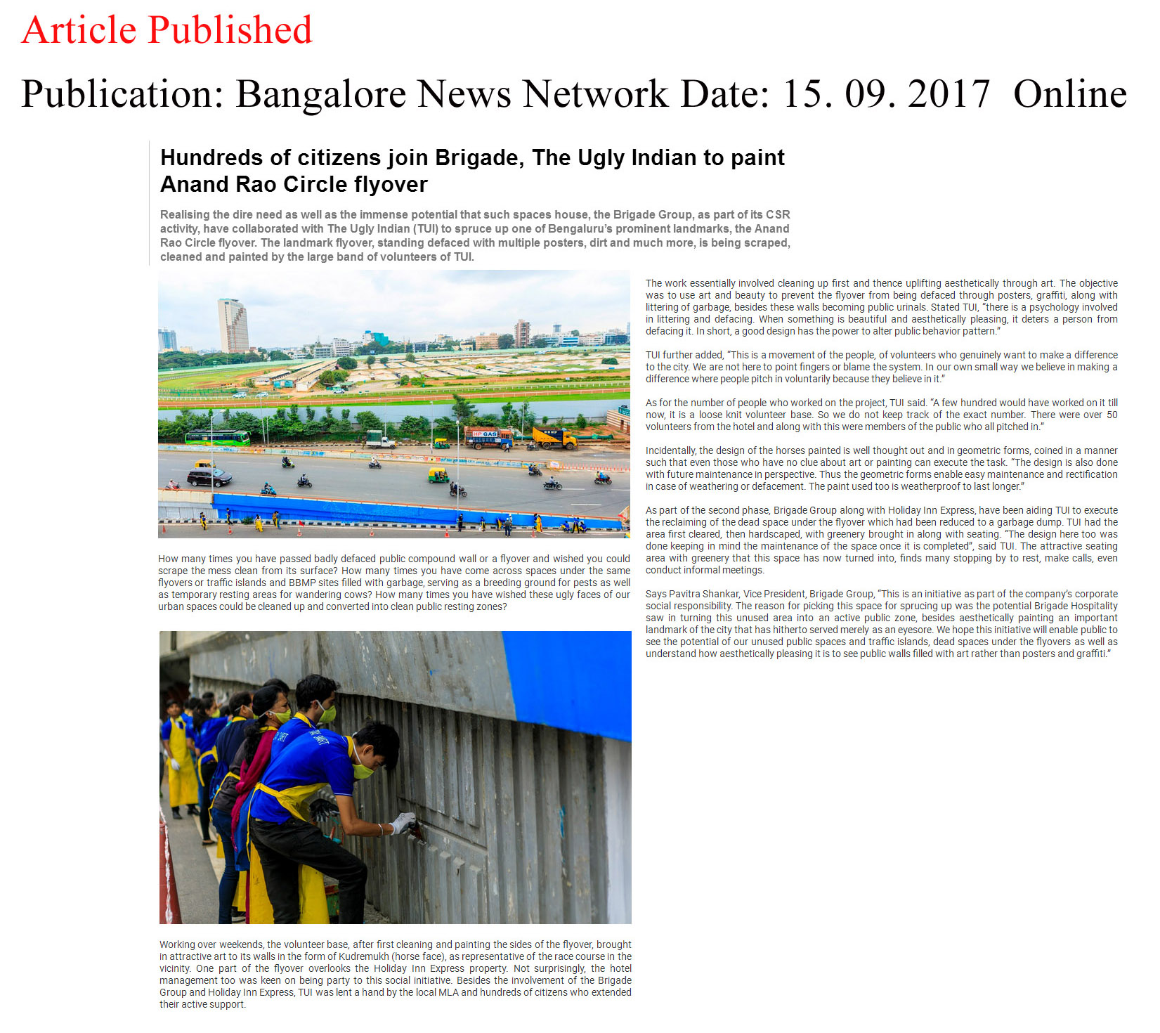 Hundreds of citizens join Brigade, The Ugly Indian to paint Anand Rao Circle flyover—Bangalore News Network–Online